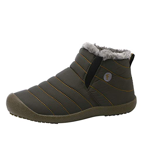 HDUFGJ Winter Boots Stiefel Gefütterte Winterschuhe Wasserdicht Outdoor Schneestiefel Baumwollstiefel für Herren Damen Boots rutschfest Chelsea Boots Sneaker Trekking- & Wanderstiefel 46 EU(Armeegrün)