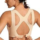 SYROKAN Femme Soutien-Gorge de Sport Dos Nageur Sans Couture Beige FR:95F