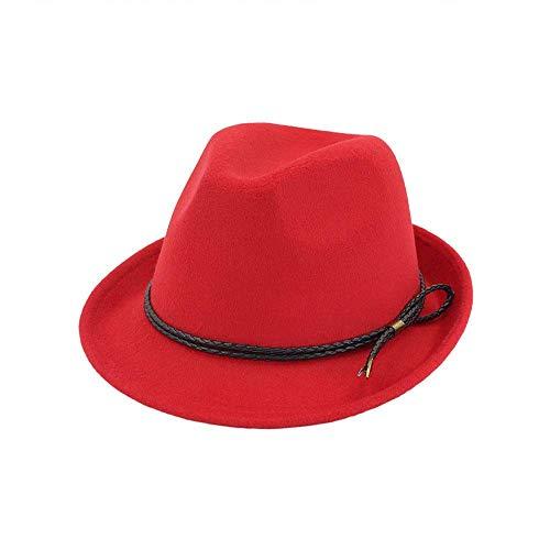 Duarble Sombrero de la Manera Hombres y Mujeres en Sombreros de Copa de estambre Desgaste Negro Medio-rizar Jazz Sombreros for Mujeres Sombrero (Color: Rojo) Cuero (Color : Red, Size : -)
