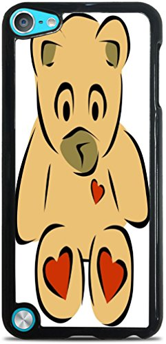 Smarter Designs Vinyl Decal Printed Design Teddy Bear with Hearts Black Hardshell Case for iPod Touch 5G