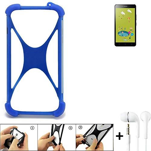 K-S-Trade Handyhülle Für Alcatel Pixi 4 (6 Zoll) 3G 8 GB Bumper Schutzhülle Silikon Schutz Hülle Cover Case Silikoncase Silikonbumper TPU Softcase Smartphone, Blau (1x), Headphones