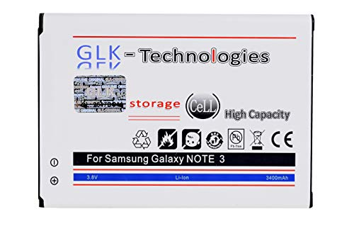 High Power Ersatzakku für Samsung Galaxy Note 3 EB-B800BE   Original GLK-Technologies Battery   accu   3400 mAh Akku   GT-N9000 GT-N9005 GT-N 9006 GT-N9009   NEU