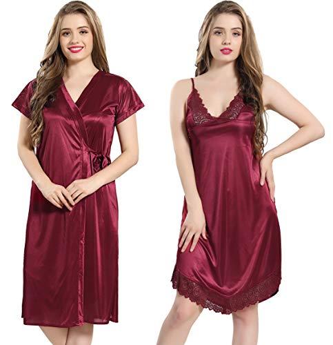 AV2 Women's Satin Short Nighty with Lace and Robe (Maroon,...