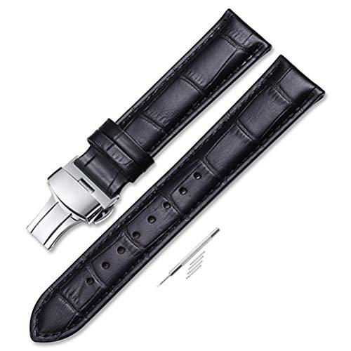 Banda de Reloj 18 mm 19 mm 20 mm 21 mm 22 mm 24 mm Piel de Becerro Suave Correa de Reloj de Piel de cocodrilo de Grano de cocodrilo Negro y Plata D 18 mm