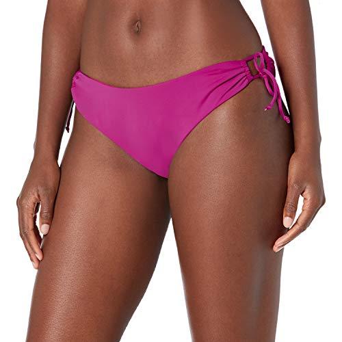 Bikini Lab Junior's High Cut Strappy Scoop Hipster Bikini Swimsuit Bottom, Raspberry//core Solids, S