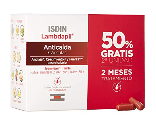 ISDIN Lambdapil Cápsulas Anticaída del Cabello, 120 Cápsulas (Pack 60+60), 50% Gratis, Fortalece el Cabello y Reduce la Caída del Mismo, 2 Meses Tratamiento