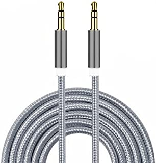 I-Sonite (Silver) Gold Plated Nylon Material Braided 3.5mm Jack to Jack Connection Aux Auxiliary Audio Cable [ 1 Meter ] f...