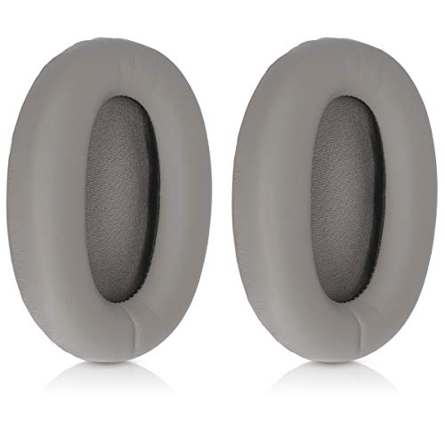 kwmobile 2X Earpads Compatible with Sony MDR-1000X / WH-1000XM2 - PU Leather Replacement Ear Pads for Headphones - Grey