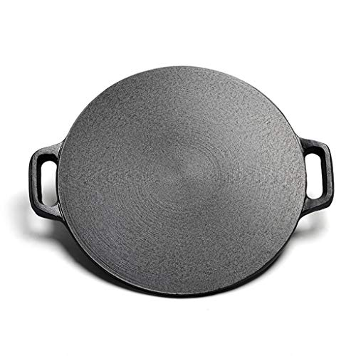 Sartén para crepes de hierro fundido sin revestimiento, sartén para crepes de 32 cm 32 cm negro