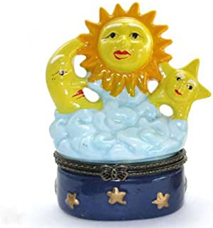 Art Gifts Sun Moon Stars Celestial Hinged Trinket Box phb