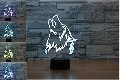 Lámpara de noche con diseño de lobo en 3D, 7 colores cambiantes LED táctil USB, para regalo de San Valentín