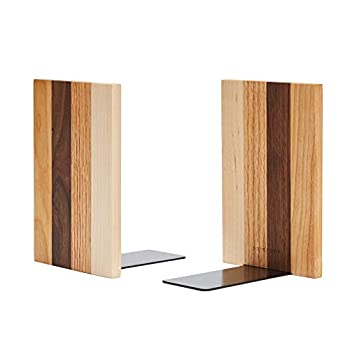 Pandapark Wood Bookends,Nature Coating,Decorative Bookend,6  X4  ,1Pair in Pack  American Dream