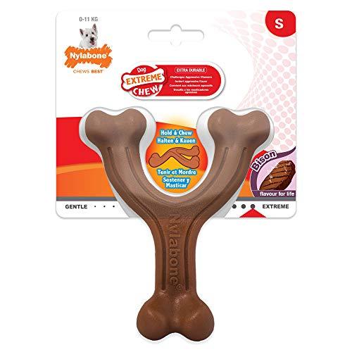 Nylabone 984718EU Gabel-Hundeknochen, Bison-Geschmack - Kauknochen für stark kauende Hunde für Hunde bis 11 kg, S