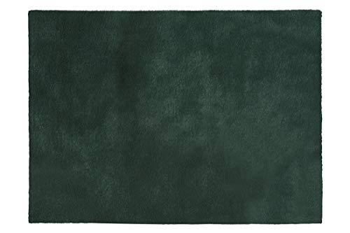 Eurofirany, decoratief tapijt, vloermat, tapijtloper, badtapijt, badmat, woonkamer, slaapkamer, keuken, rechthoekig, imitatiebont, zacht, donkergroen, 60 c90 cm