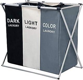 BePrincess Laundry Clothes Hamper Sorter Basket Bin Foldable with Aluminum Frame, Clothes toys Waterproof Organizer Bag, W...