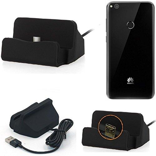 K-S-Trade Dockingstation Kompatibel Mit Huawei P8 Lite 2017 Single SIM Docking Station Micro USB Tisch Lade Dock Ladegerät Charger Inkl. Kabel Zum Laden Und Synchronisieren, Schwarz