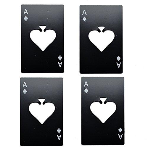 4 pezzi apribottiglie nero bieroeffner 4 pezzi Apri Offer Acciaio Inossidabile carta da gioco Ace birra apribottiglie Levacapsule nel Poker Design in acciaio inossidabile di alta qualità