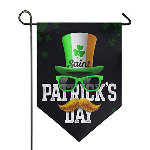 St Patrick's Day Clover Leprechaun Hat Mustache Large House Flag Double Sided Home Yard Decorative Garden Banner 28 x 40 Inch
