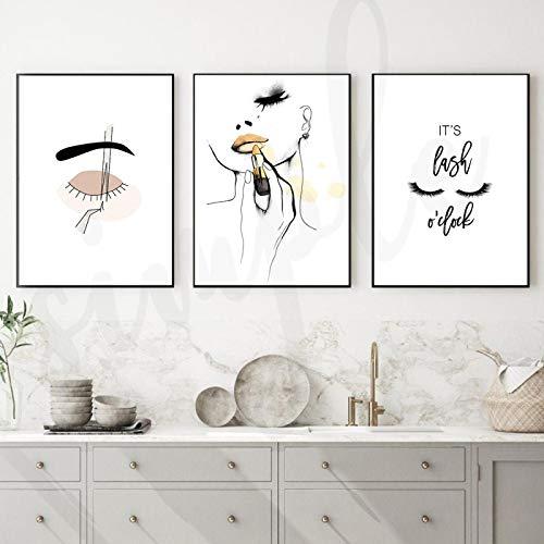 Gymqian Impresión en Lienzo Lápiz Labial Línea de Moda Pintura artística Mujer Ceja Imagen Póster e Impresiones Sala de Estar Moderna Decoración para el hogar 45x60x3cm Sin Marco