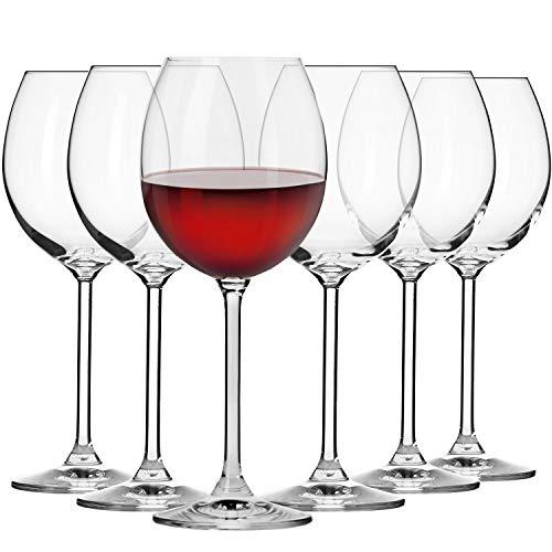 Krosno Copas de Vino Tinto | 350 ML | Conjunto 6 Piezas | Venezia Collection Uso en Casa, Restaurante y en Fiestas | Apto para Microondas y Lavavajillas