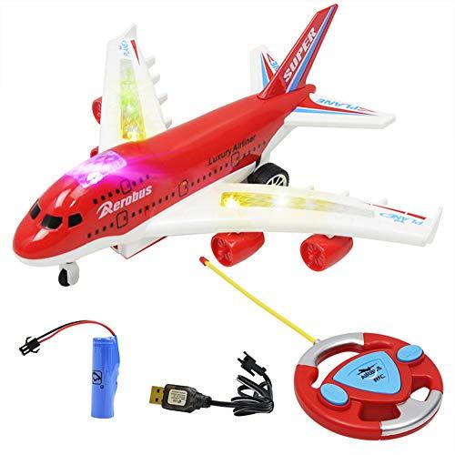 Avión teledirigido, modelo de avión de simulación de 4 canales con luz y sonido, para niños a partir de 6 años, 24 x 25 cm, yd03 rojo