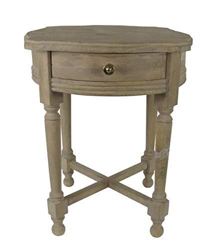 Saharashop Mesa auxiliar de madera india n.º 6, mesa auxiliar de madera maciza oriental de 50 cm, mesa tradicional de madera maciza natural para tu salón