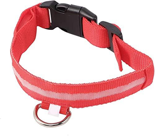 LED Light Anillo Pet Pet Luminous Collar DE Perro Pet Pet Collar Personalizado COLLARSDOG Puppy Coatume (Color : Red, Size : S)
