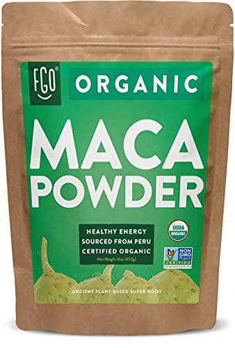 Organic Peruvian Maca Root Powder | Perfect for Smoothies, Baking, Energy | Raw From Peru | Non-GMO, USDA Organic | 16oz Resealable Kraft Bag (1 Pound) | by FGO