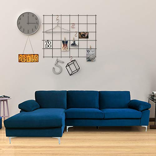 Knowlife L-Shaped Sectional Velvet Sofa for Living Room Modern Futon Sofa with Metal Legs, Left Hand Facing Chaise 103.5' Sofa Couch for Small Space - Navy Blue