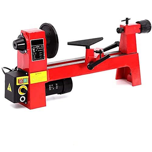 Torno de madera Máquina torno de bricolaje Mini torno Velocidad variable 650-3800 RPM Máquina torno de madera para exteriores y hogar Hobby Trabajo Grabado y molienda