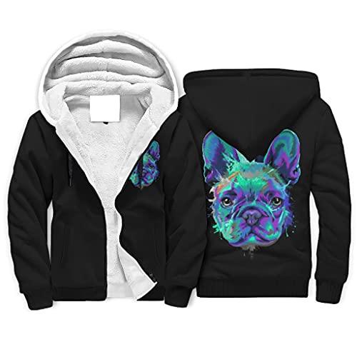 Chhome Teen Students Lined Hoodies Zip Up Hooded Sweatshirts French Bulldog Blue Dog Print Jacket White Medium