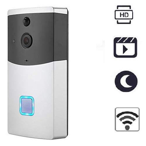 Tosuny WIFI-deurbel, WIFI-deurbelcamera, draadloze videocamera-intercom, 5M nachtzichtafstand + PIR-alarm + 145 ° hoek + mobiele telefoonbediening voor iOS, Android-systeem
