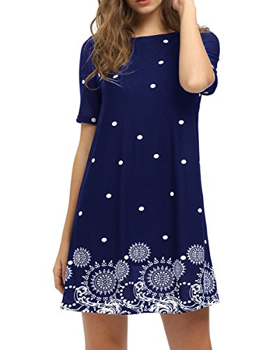 Romwe Women's Short Sleeve Floral Print Loose Casual Tunic Swing Summer Shirt Dress Navy L