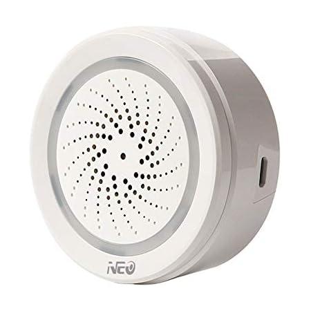 Bopfimer Sensor de temperatura y humedad del aire, alarma wifi, sirena Tuya Life, aplicación para trabajar con Echo Alexa Home IFTTT