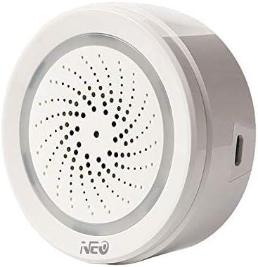 Bopfimer Alarma de temperatura y humedad del aire, sirena WiFi Tuya Life p Trabaja para Alexa Home IFTTT