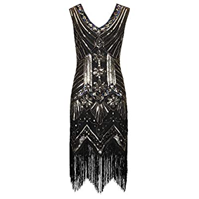 Ro Rox Gloria Great Gatsby Costume 1920's Cocktail Party Tassel Flapper Dress