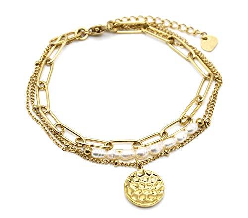 Oh My Shop BC4273 – Pulsera triple cadena eslabones, bolas, perlas y medalla martillada acero dorado
