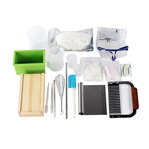 Complete DIY zeep maken benodigdheden Kit- 20 stuks volledige beginners set inclusief siliconen vorm, schaafmachine houten doos, zeep basis, spatels, pipet en meer