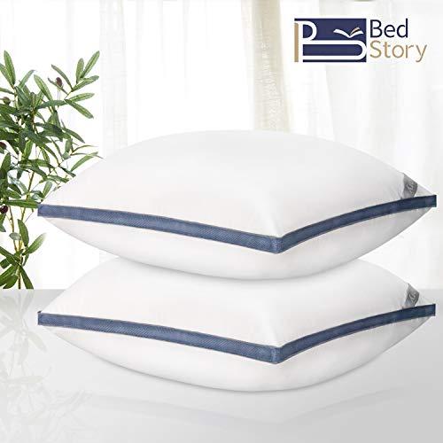 BedStory 2er Set Kopfkissen 80x80cm, Mikrofaser gefüllt Kissen geeignet für Allergiker, Schlafkissen mit Atmungsaktiv Gitter