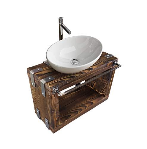 CHYRKA® Badmöbel Waschtisch BORYSLAW-Bad Waschbecken Hängeschrank Waschtischunterschrank Waschbecken-Unterschrank Metall Holz Loft Handmade (Natur, 80 x 28 cm H=40 cm)