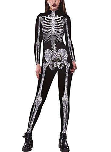 Idgreatim Damen Halloween Jumpsuit Catsuit 3D Grafik Cosplay Kostüm Zipper Zurück Langarm Skeleton Print Einteilige Catsuit für Halloween Schwarz L