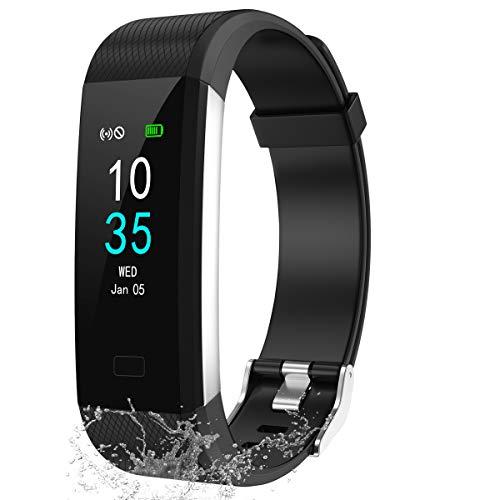 LEBEXY Fitness Armband Wasserdicht IP68 | Smartwatch Fitness Tracker Uhr | Fitness Uhr mit Schrittzähler Armband Sportuhr eingebautes GPS Schwarze