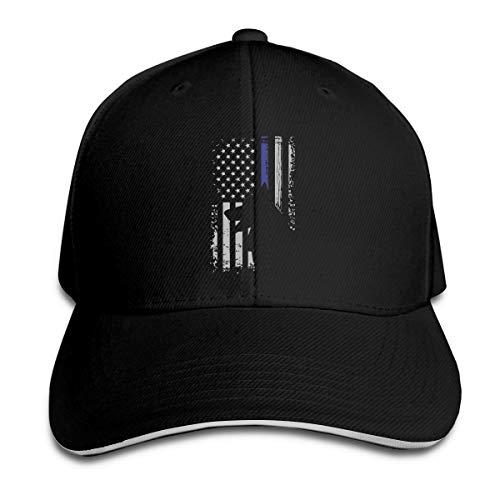 SFT Unisex Thin Blue Line Flag K9 German Shepherd Police Dog Fashion Peaked Cap Baseball Cap for Travel/Sports