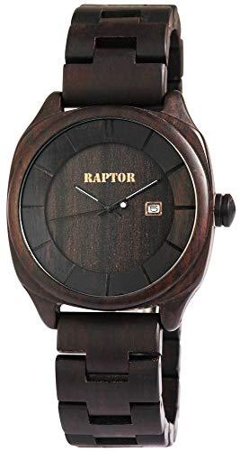 Raptor Herren-Holzuhr Holzarmband Datumsanzeige Analog Quarz RA20040
