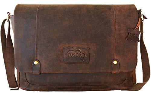 TUSC Charon Braun Leder Tasche Vintage Laptoptasche bis 17 Zoll Herren Damen Unisex Umhängetasche Aktentasche Schultertasche für Büro Notebook Messenger Bag Laptop iPad, 41x31x12cm