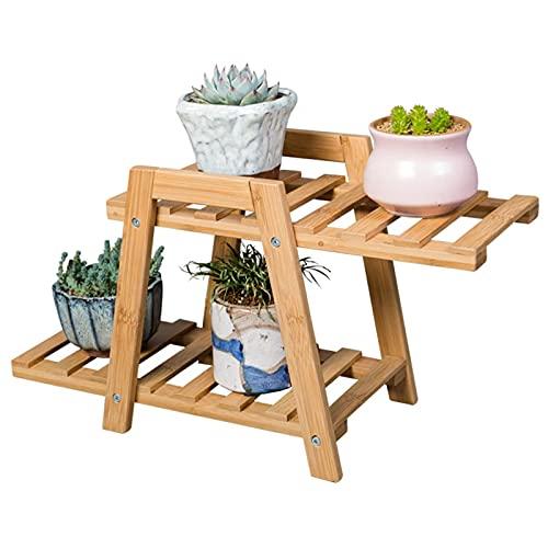 Soporte para Plantas Pequeñas, Estante para Plantas De Bambú De 2 Niveles, Macetero para Suculentas, Flores, Rosa, Ideal para Interiores, Exhibición Al Aire Libre
