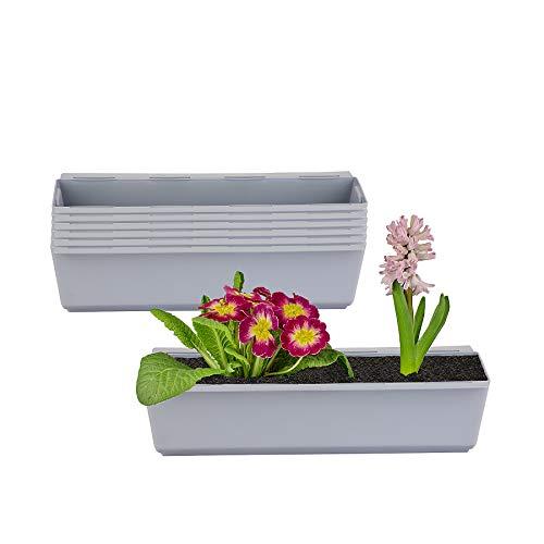 BigDean 6er Set Pflanzkasten inkl. Aufhänger für Europalette - Blumenkübel in Grau - LxBxH ca. 37 x 13,5 x 9,5 cm - Ideal zum Hängen & Stellen - Robust & wetterfest -