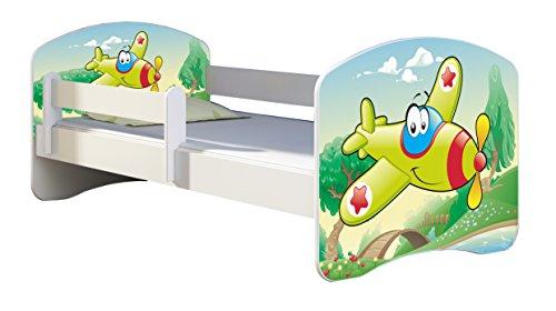 Letto per bambino Cameretta per bambino con materasso Cassetto ACMA II (29 Aereo, 140x70)