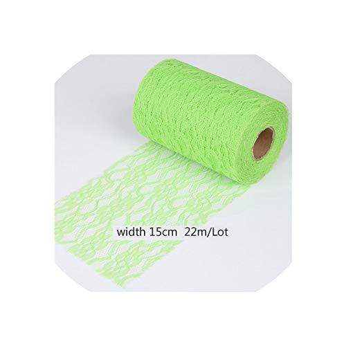 Hochzeit Dekoration 22Meter 15Cm weißen Organza-Tulle Rollenspule Netz-Spitze-Gewebe für Tutu-Rock-Stuhl-Schärpe-Bogen-Tischläufer, Grasgrün
