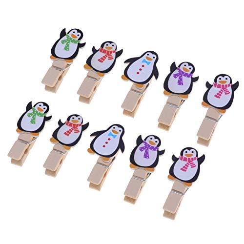Amosfun 10 Stücke Mini Holzklammern Penguin Form Holz Wäscheklammern Zierklammern Dekoklammern Weihnachten Deko Klammern Foto Clips für Fotowand Basteln Snacks Tüten